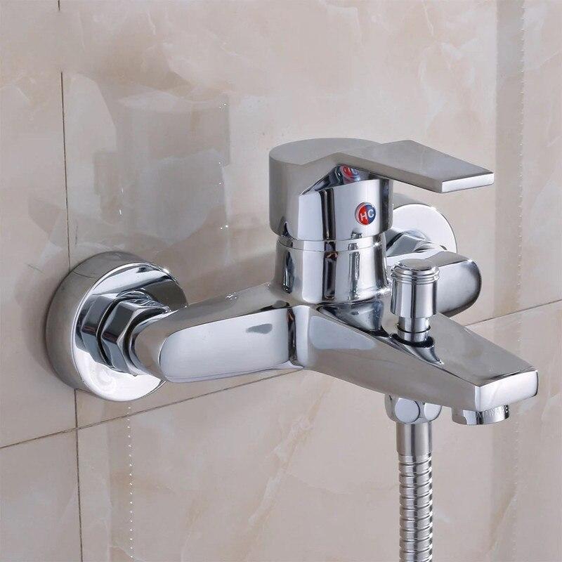 Torneiras Chuveiro Do banheiro Chrome Polido Wall Mount Latão Prata Grifo Ducha Chuveiro Torneiras Do Banheiro Torneira Da Banheira Torneira Misturadora