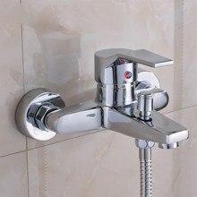 욕실 샤워 꼭지 크롬 세련된 벽 마운트 황동 실버 욕실 샤워 꼭지 욕조 수도꼭지 믹서 탭 grifo ducha