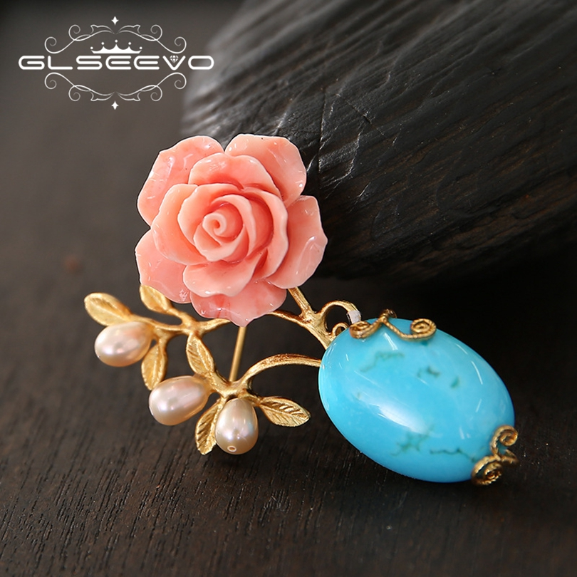 GLSEEVO Natural Turquoise Fresh Water Pearl Brooch Pins Coral Flower Brooches For Women Dual Use Luxury Handmade Jewelry GO0196GLSEEVO Natural Turquoise Fresh Water Pearl Brooch Pins Coral Flower Brooches For Women Dual Use Luxury Handmade Jewelry GO0196
