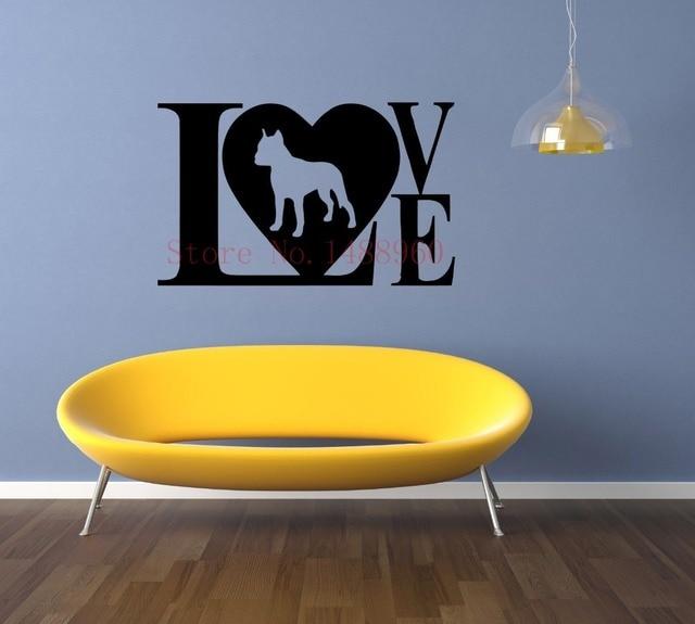 E238 Dog Pitbull Puppy love Breed Mural Vinyl Animals Pets shop ...