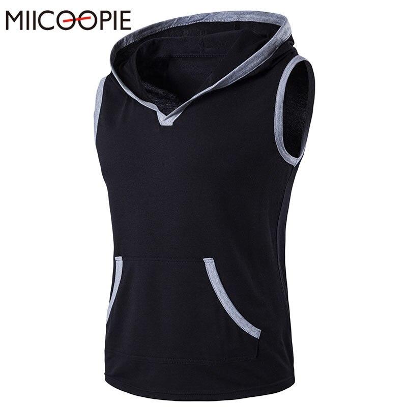 Summer Sleeveless Men T shirt Fitness Slim Hooded font b Men s b font Vest Bodybuliding