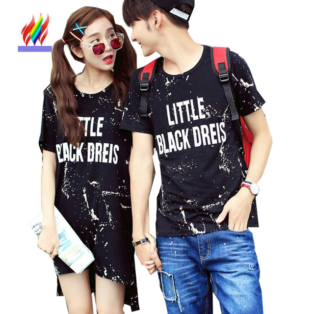 178424ca17e7 2016 New Hot Fashion Korean Couple Clothes Lovers Summer Short Sleeve  Casual Tops Printed Cute Sweet Matching Couple T Shirts
