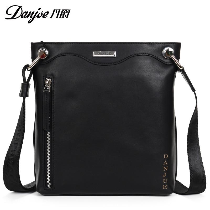 DANJUE Male Vertical Black Business Bag Genuine Leather Messenger Bag Classic Zipper Casual Shoulder Bag Man Men Bag 247 classic leather