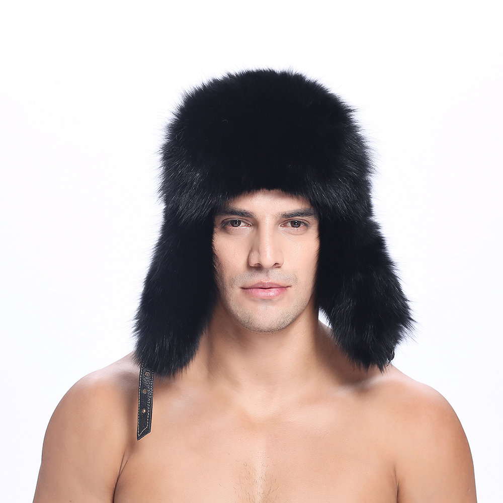 ZY84015 2016 New Arrived Real Fox Fur Men Trapper Cap Hats Caps With Real Leather Winter Fur Beanies Headgear Snow Cap