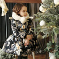 New Girl Big Flower Winter Warm Coat With Velvet For Baby Kids Thicken Hooded Floral Girls Coat Children Costume Yellow/ Black