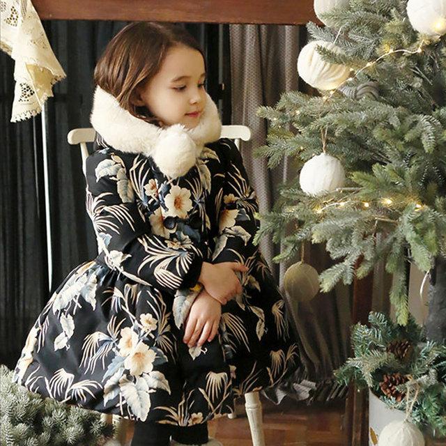 Nova Chegada Da Menina de Flor Grande Casaco de Inverno Quente Com Veludo Para Crianças Bebê Engrossar Com Capuz Casaco Meninas Floral, amarelo/Preto