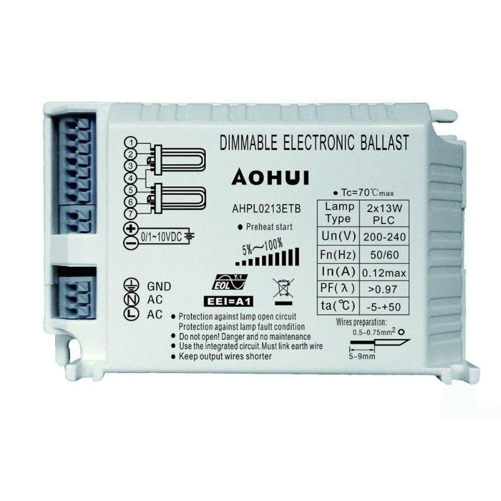 AOHUI 220 V-240 V 13WX2 PLC 4 broches Plug lampe 0/1-10VDC Dimmable Ballast électronique AHPL0213ETB
