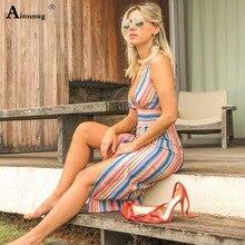 Aimsnug Boho Casual 2019 New Shein Sukienka Maxi Classic Striped Shoulder Strap Robe Grande Taille Femme Cute Dress Vintage