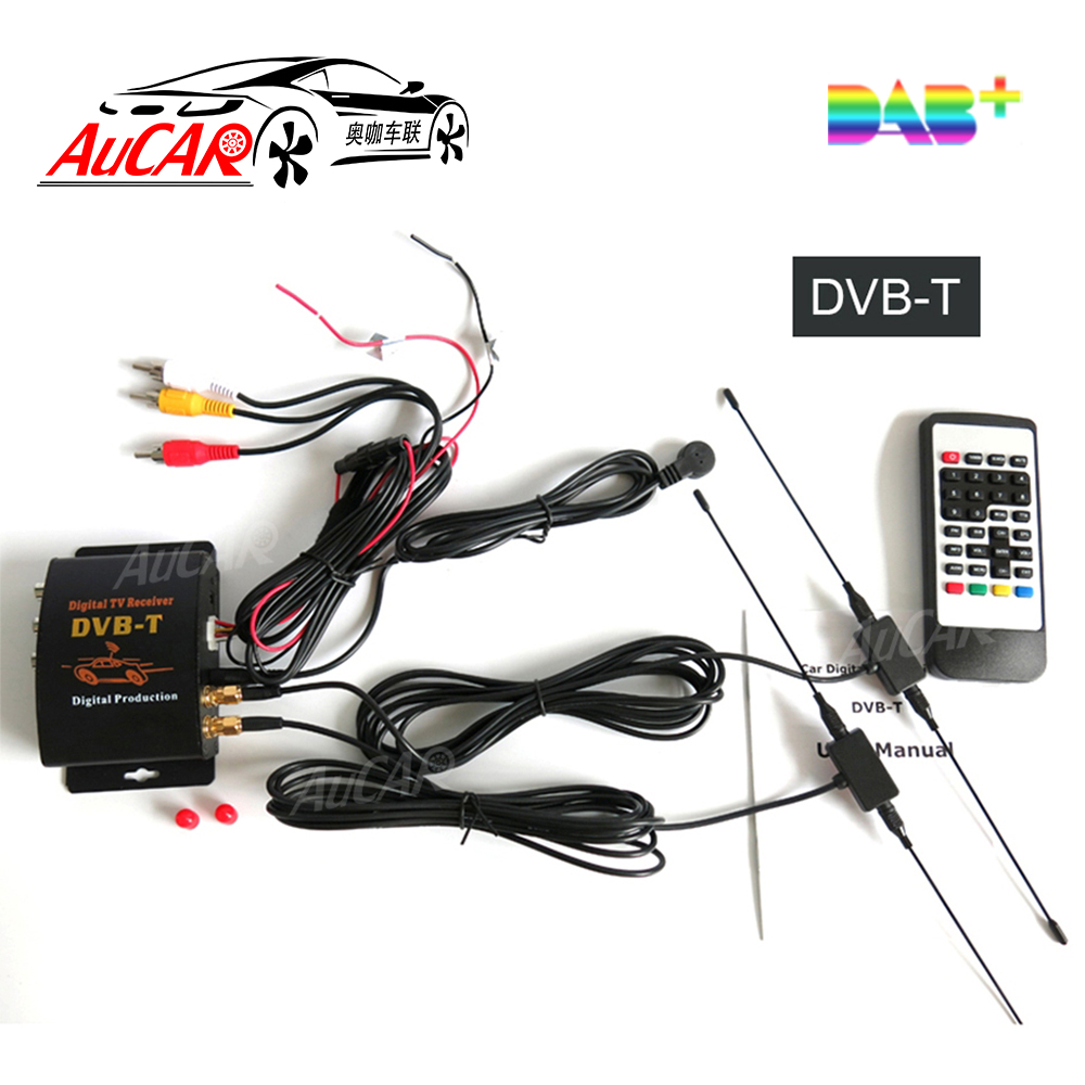 DVB-T Car Digital TV HD MPEG-4 Tuner Receiver Two Antenna 140-200km/h Two Chip Tuner DVB T BOX wekeao box dvb t2 atsc isdb t dvb tmpeg 4 tuner dual antenna car hd digital tv turner receiver auto tv high speed two chip