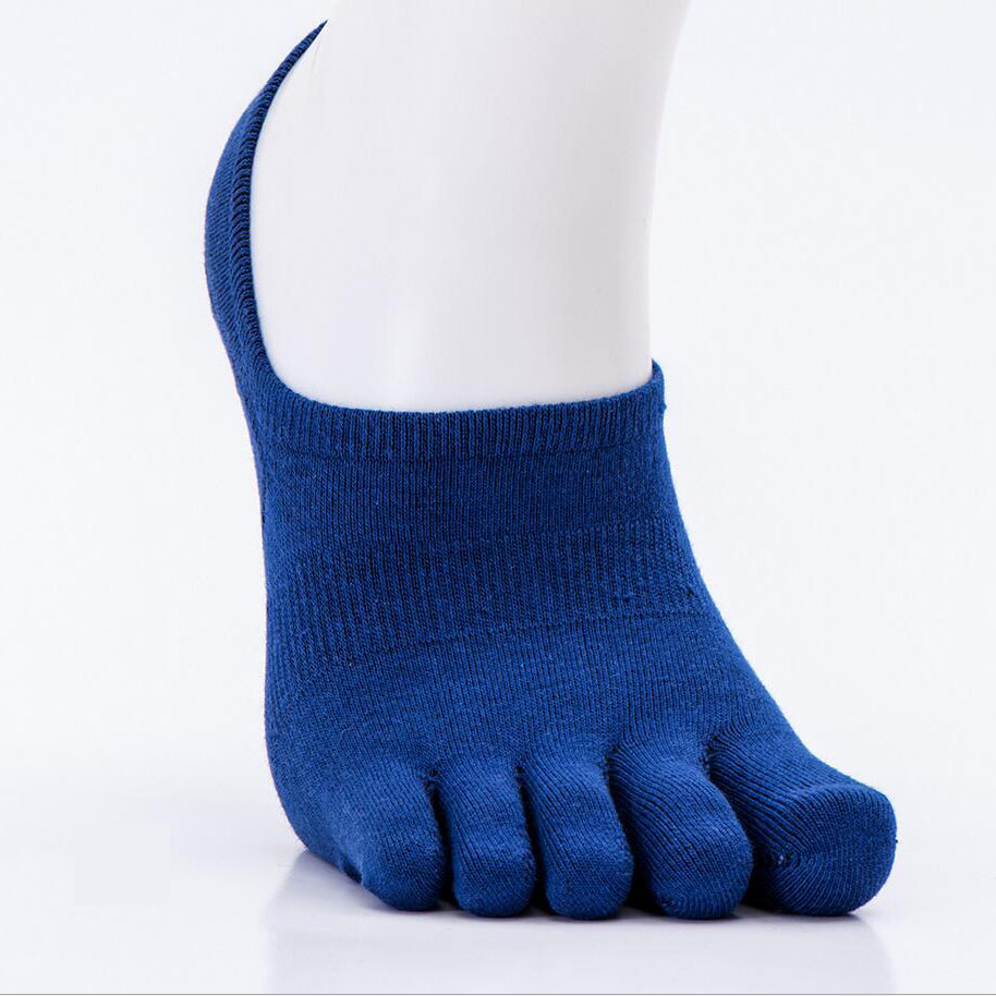 Мужские носки хлопчатобумажные уличные летние весенние мужские спортивные носки лодыжки Пять пальцев Велоспорт Футбол Носки мужские тонкие носки 39-44 1 пара - Цвет: blue