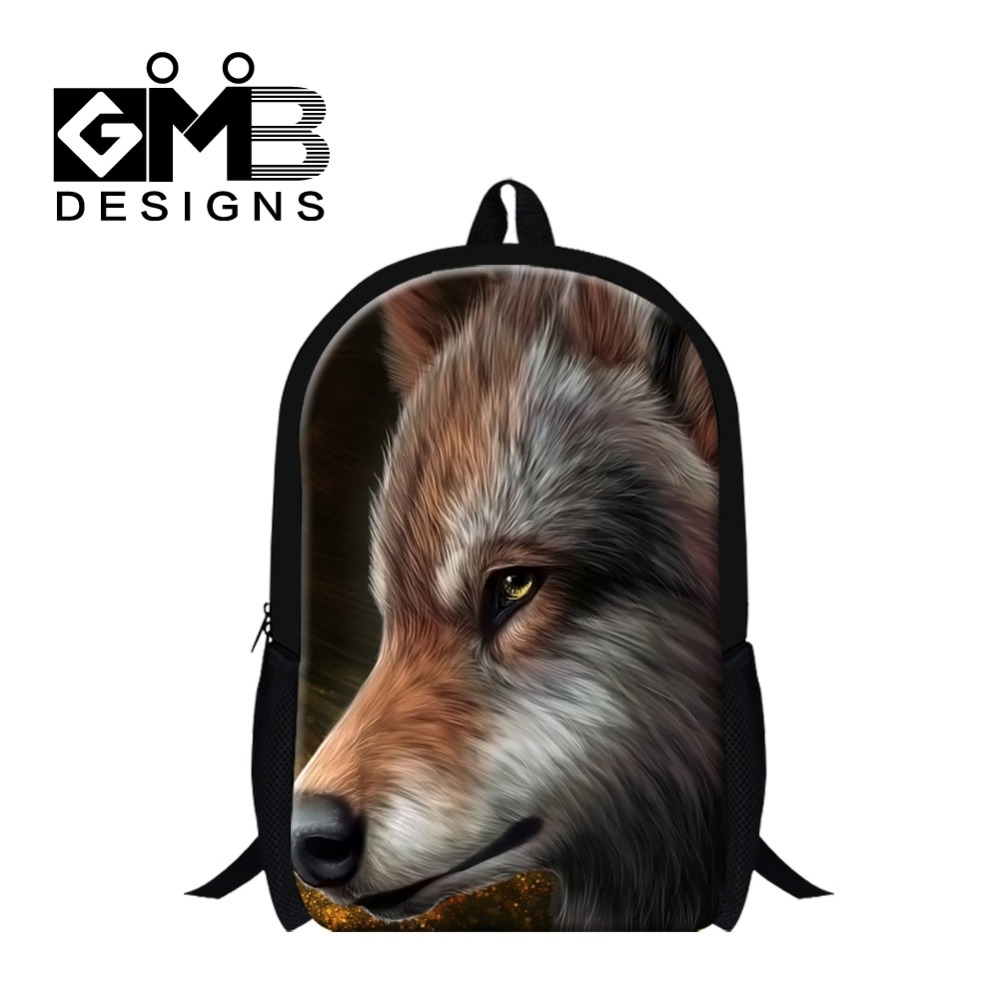Dispalang Cool School Bookbags for boys Wolf Print Mochila Children Teen lightweight Animalk Print Backpacks Stylish Day Pack