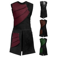 Retro Mens Medieval costumes Shirt Vest Cosplay Custome Laced Pirate Renaissance Sleeveless Landlord Knight Top Patchwork