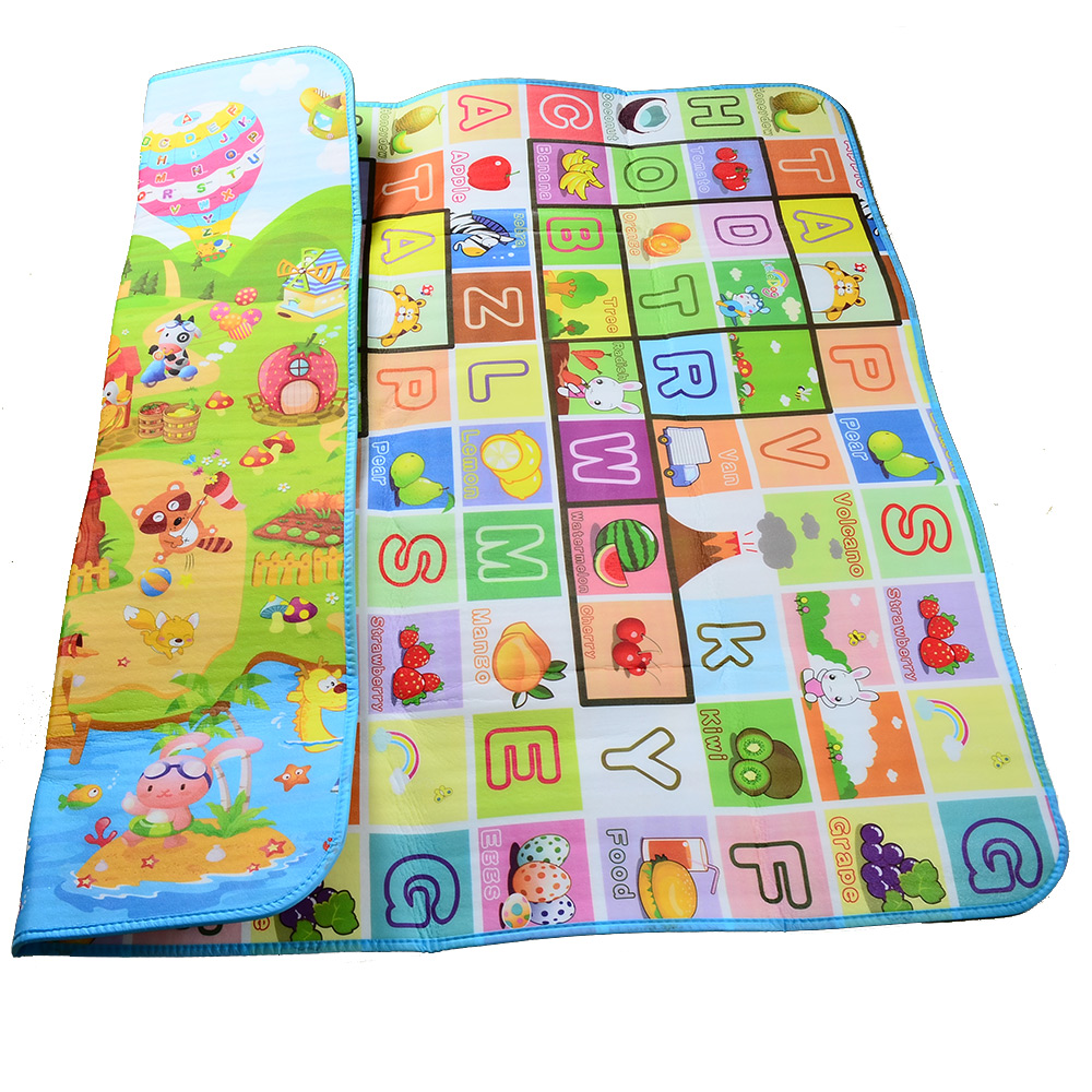 Thick Double Sides Farm Animals Fruits Alphabets Soft Play Mats for Baby Crawling and Play baby touch farm