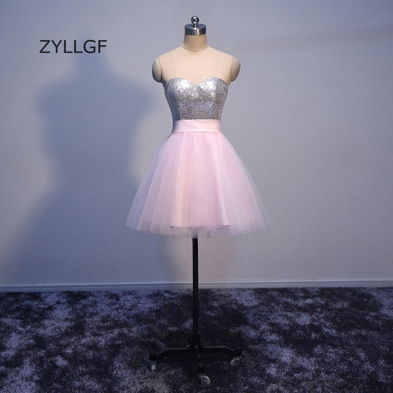 ZYLLGF Short Sequins Light Pink   Prom     Dresses   A Line Sweetheart Zipper Back Tulle Homecoming   Dress   Party   Dress   With Back Bow Q82