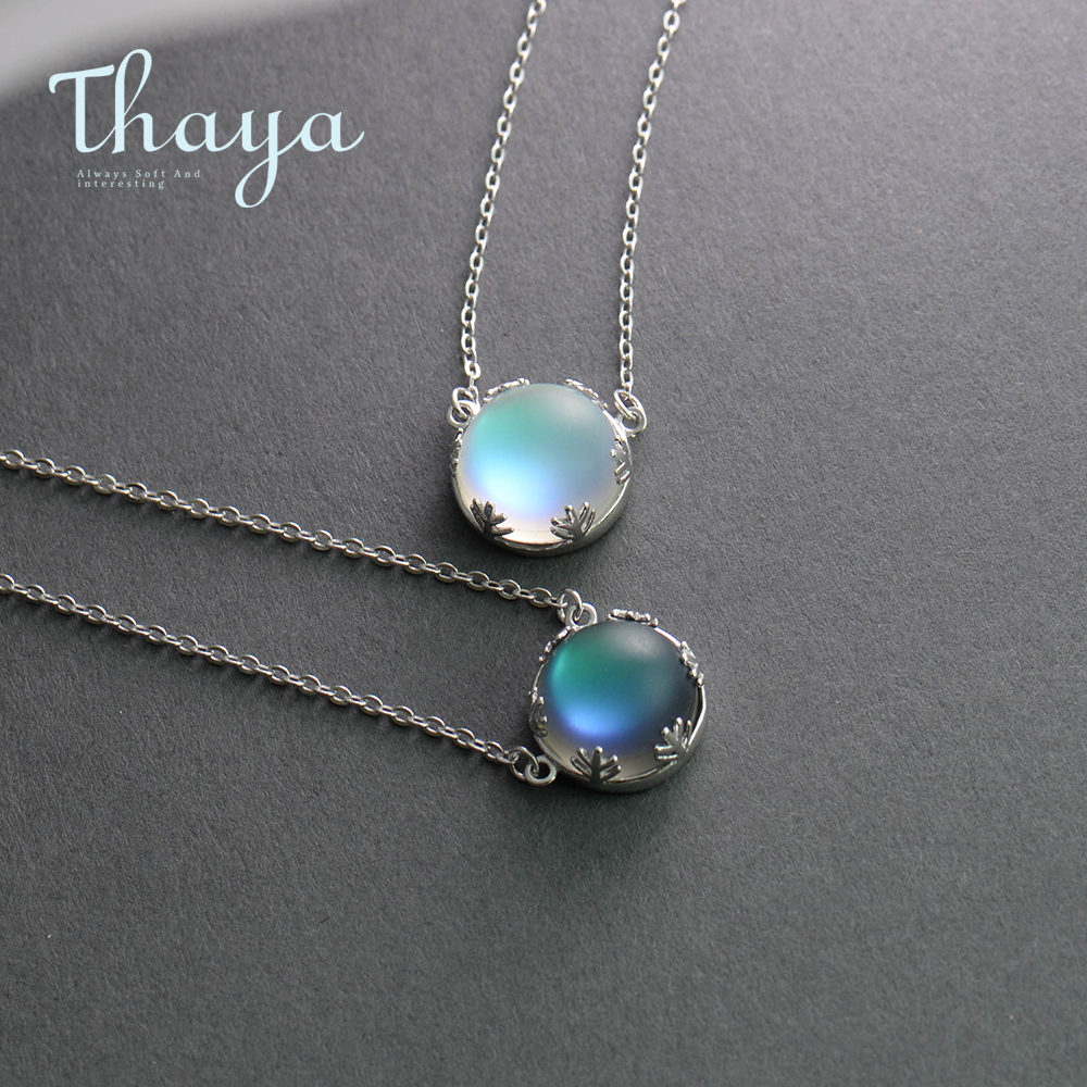 Thaya 55cm Aurora Pendant Necklace Halo Crystal Gemstone s925 Silver Scale Light Necklace for Women Elegant Jewelry Gift золотые серьги по уху