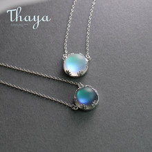 Thaya 55cm Aurora Pendant Necklace Halo Crystal Gemstone s925 Silver Scale Light Necklace for Women Elegant Jewelry Gift(China)