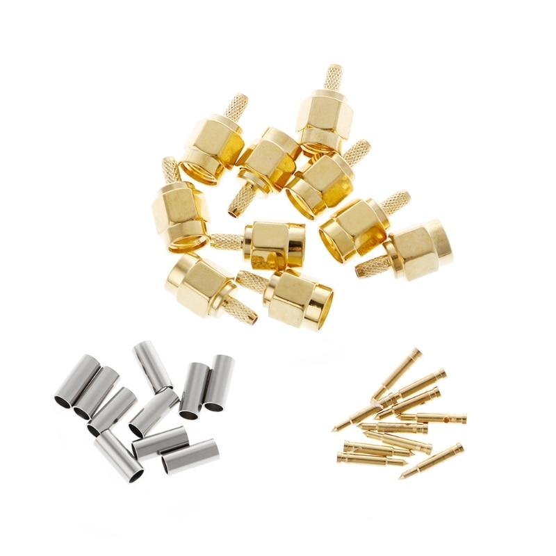 10 Pcs SMA Male Plug Crimp RG174 RG316 LMR100 Cable RF Connector