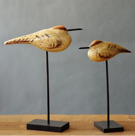 2 Pieces Set Wood Birds Desk Decoration Big One 3875285CM Small 326225CM In Figurines Miniatures From Home Garden On Aliexpress