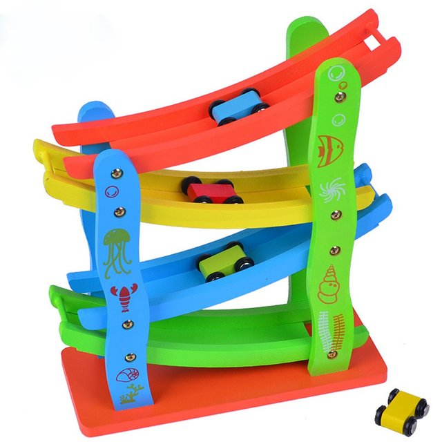 OCDAY Wooden intelligent early education toy inertial track