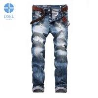 2017 Newly Fashion Mens Jeans Autumn Winter Style Destroyed Biker Jeans Men DSEL Brand Blue Color