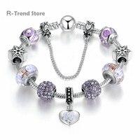 Heart Snow Charms Bracelet Female Crystal Beads Bracelets Bangles Women Diy Jewelry PA1891