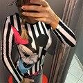 Summer One-Piece Jumpsuit Body Top Sexy Romper Cartoon Bodysuit Women Long Sleeve Women Jumpsuit Playsuit Bodysuit