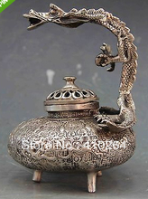 0116P [old craft ] fast shipping 5.5 Tibet Buddhism White Copper Silver Dragon Censer incense burner Statue (A0321) стоимость