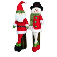 Groothandel 2 Stks/partij Lovertjeborduurwerk Kerstman En Sneeuwpop Wijnfles Cover Tas sets Kerst Diner Xmas Tafel Decor Pop