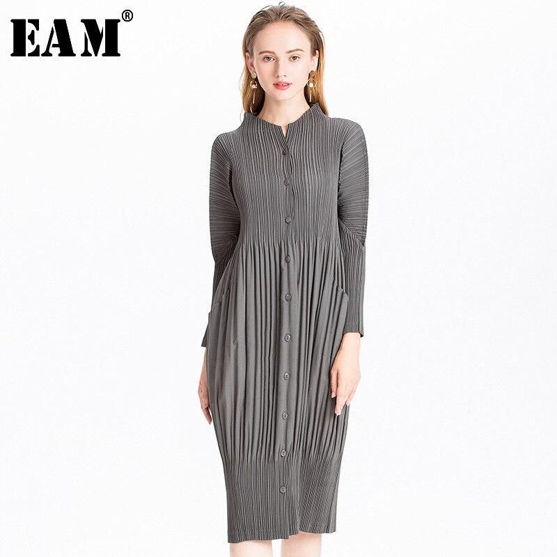 [EAM] 2019 nouveau automne hiver col montant à manches longues noir plissé Split Joint grande taille robe femmes mode marée JL566