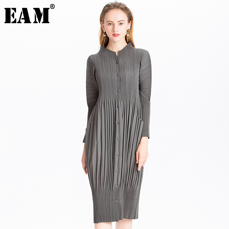 [EAM] 2020 New Spring Autumn Stand Collar Long Sleeve Black Pleated Split Joint Big Size Dress Women Fashion Tide JL566