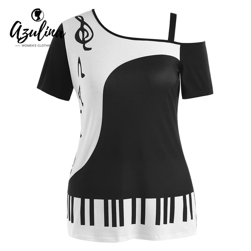 AZULINA Plus Size Music Notes Print Skew Collar T-Shirt Summer Top Women T Shirt Two Tone Short Sleeve Ladies Tops 2018 Clothing two tone mixed stripe t shirt