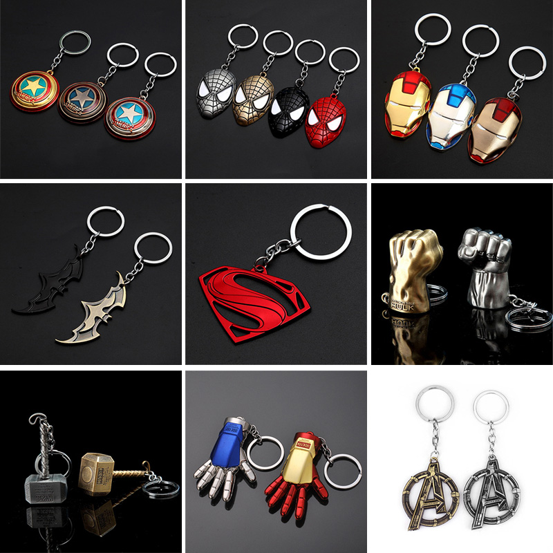 Captain America Thor Batman Iron Man Superman Spider Man The Avengers Keychain Keyring Movie Super Hero Key Ring Accessories dc marvel comics pencil wallets avengers hero captain america spider man iron man rectangle long pencil bag zipper pouch purse