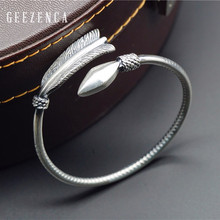 GEEZENCA 999 Sterling Thai Silver Handmade Craft Arrow Resizable Bangles Bracelet Vintage Fine Jewelry Women Gift Rock Ethnic