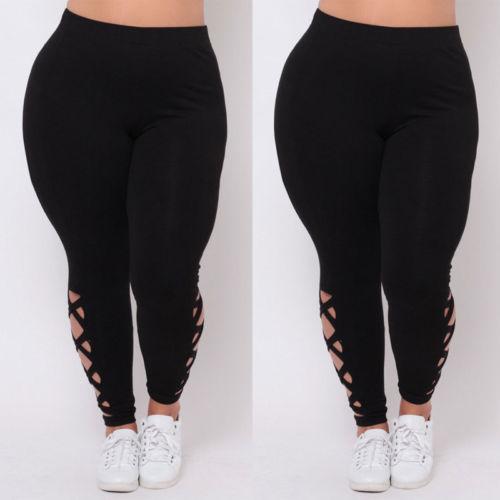 Delle donne Nero Scava Fuori Le Ghette Plus Size Spandex Curvy Pantaloni Solido New Soft 3