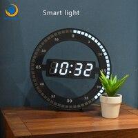 31cm Super LUMINOVA Living Room Table Clock Mute Digital Electronic Smart Light Alarm Clock LED Simple Wall Clock