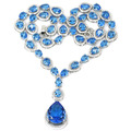 Drop Swiss Blue Topaz, White CZ Created SheCrown Woman's Wedding   Silver Necklace 18 inch 47x19mm