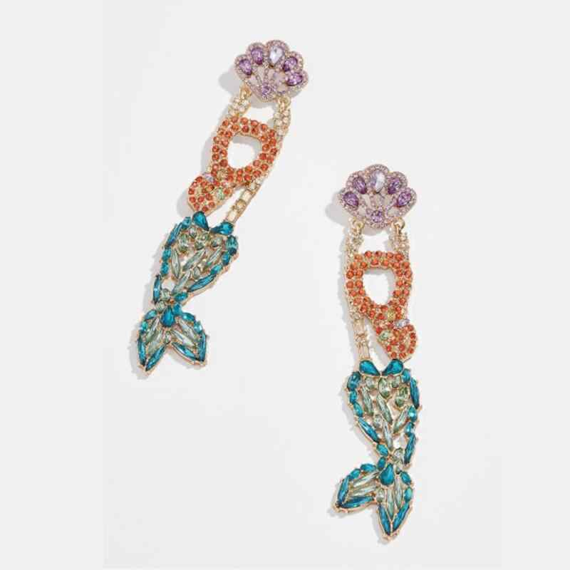 2019 New Za Drop Earrings Women Jewelry Crystal Rhinestone Bird Fish Crab Mermaid Crane Big Long Boho Ethnic Dangle Earrings
