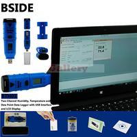 BTH01 Портативный Профессиональный цифровой влажность и Температура USB регистратор данных Регистраторы 0 100% RH ЖК Дисплей точки росы Программы