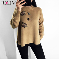 RZIV spring 2019 women sweater casual female pullovers beading decoration solid color sweater knitted tops loose style