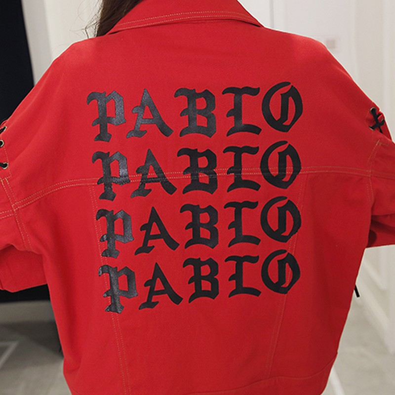 EXOTAO Red Bomber Jeans Jacket Women Hollow Out Single Breasted Spring Chaqueta Mujer Lace Up Thin Back Printed Bts Denim Jacket in Jackets from Women 39 s Clothing