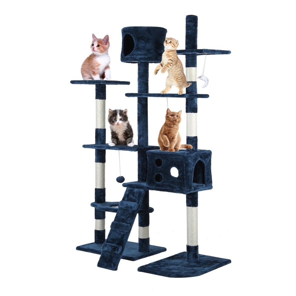 Beige/Blue Cat'S Tree Scratcher Animal Funny Scratching Post Climbing Toy Activity Centre Protect Home Furniture Pet House