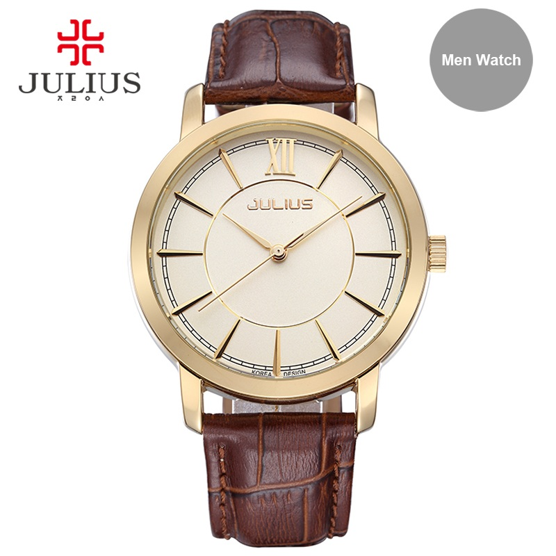 Julius Men Waterproof Watch Light Rose Gold Silver Montre Homme Men Business Clock Wach Hand Wrist