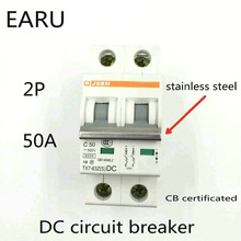 2P 50A DC 500V DC Circuit Breaker MCB for PV Solar Energy Photovoltaic System Battery C curve CB Certificated Din Rail Mounted