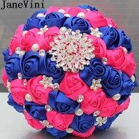 JaneVini Beaded Satin Rose Bridal Bouquet Crystal Pearls Groom Brooch Artificial Bouquet Flowers Wedding Bride Flower Bouquet