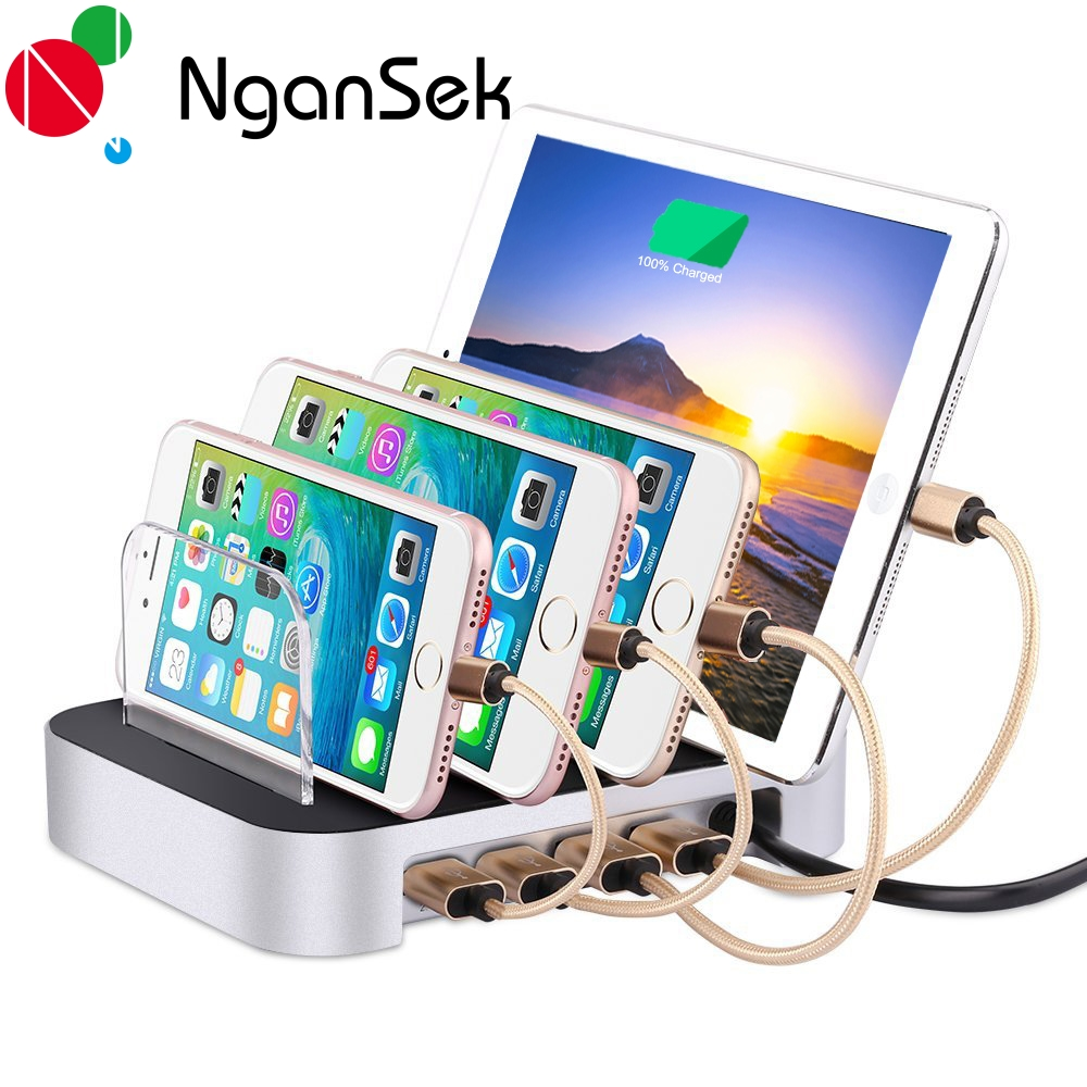 NganSek 4 Ports Multi Device Charging Station For Apple Samsung Huawei Cellphones  Tablets Dock Station USB Adapter Charger Dock In Mobile Phone Chargers ...
