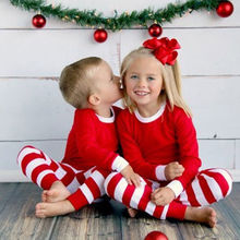 Red and Green Striped Family Matching Christmas Pajamas