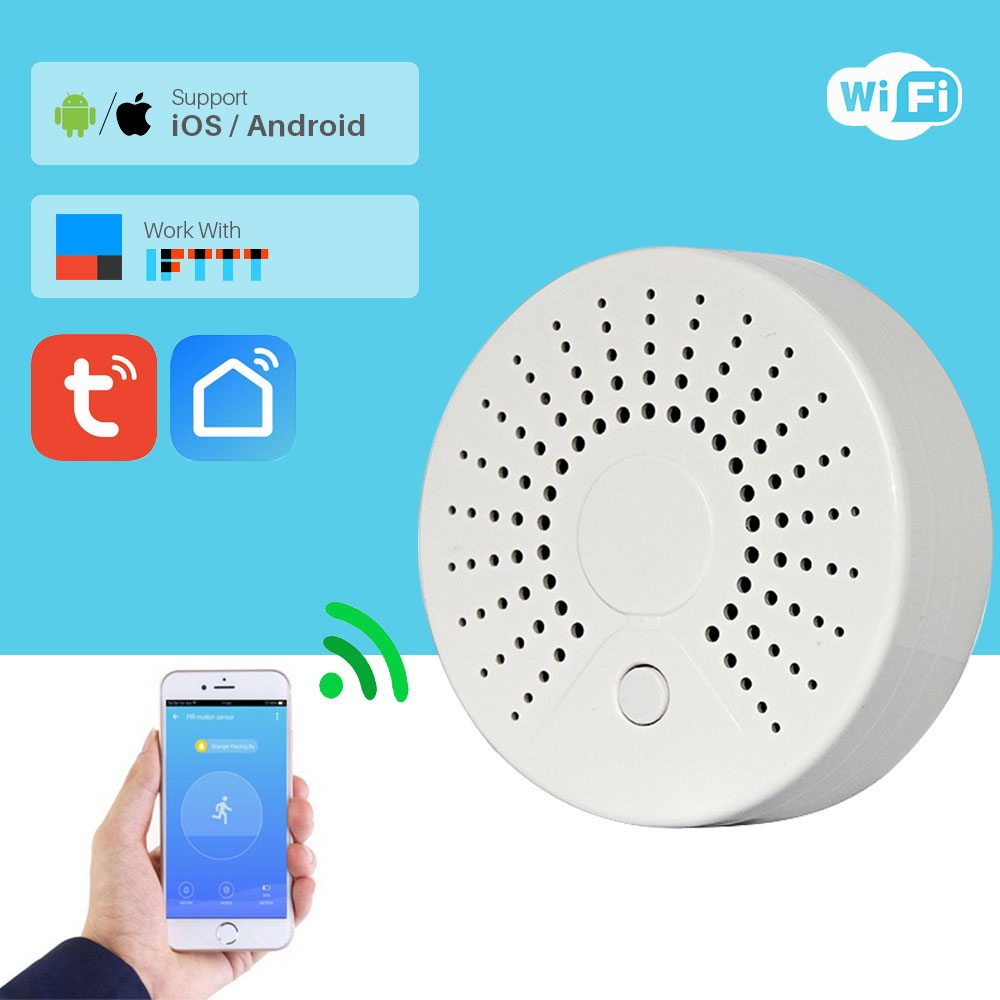 Smart Wifi Fire Smoke Temperature Sensor Wireless Smoke Temperature Detector Automation Home Security Alarm System Smart Life