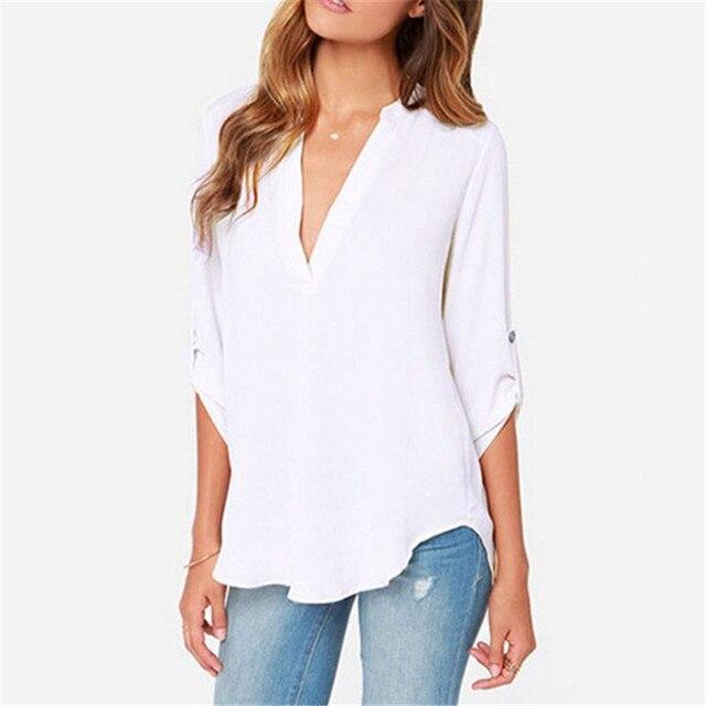 d24197600 5XL Blusas Camisa Roupas Baratas China Branco Preto Mulheres Manga Comprida  Tops T Blusas Feminina Blusas