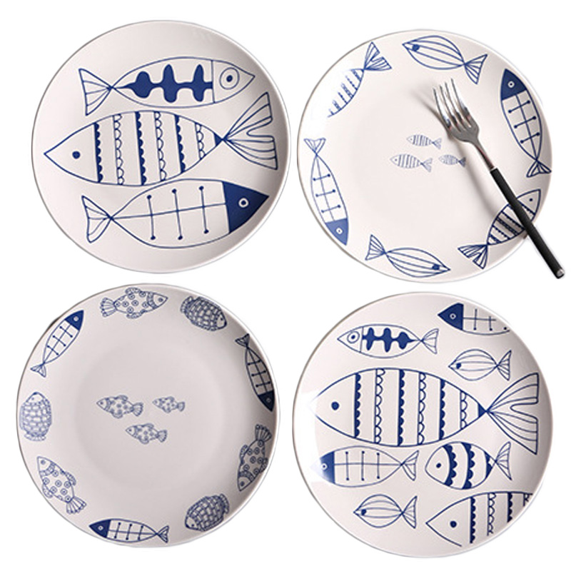 Creative Hand painted Ceramic Round Fish Dish Cartoon Design Children Food Tray Western Salad Flat Plate Pasta Dinner plate 1pcs-in Dishes \u0026 Plates from ...  sc 1 st  AliExpress.com & Creative Hand painted Ceramic Round Fish Dish Cartoon Design ...