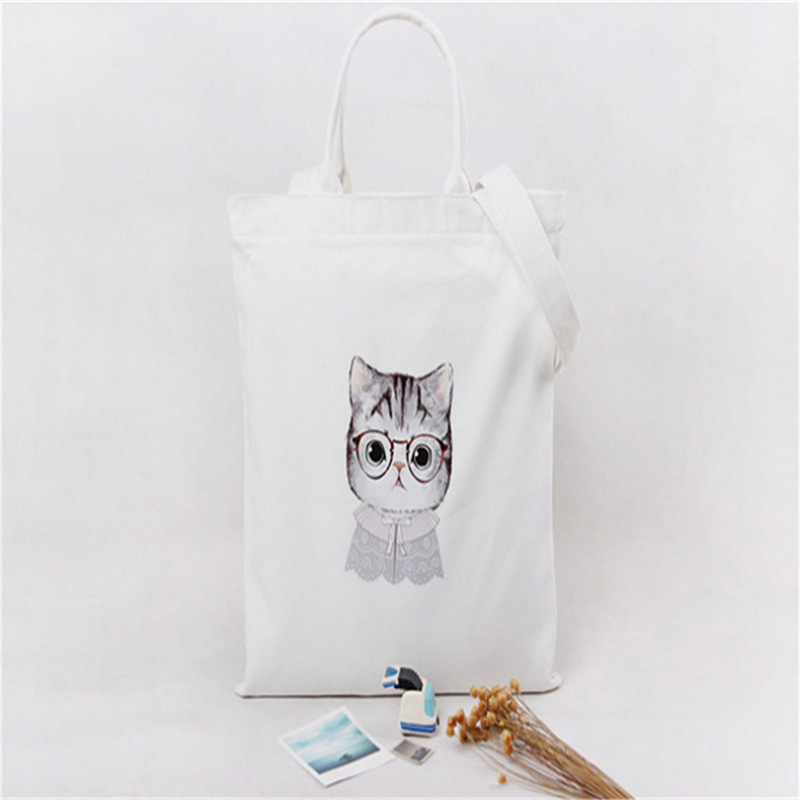 2 Color Lovely Cat Raged Sheep Fashion Cotton Grocery Tote Shopping Bags Folding Cute Cats Printed Shopping Cart Eco Grab Bag